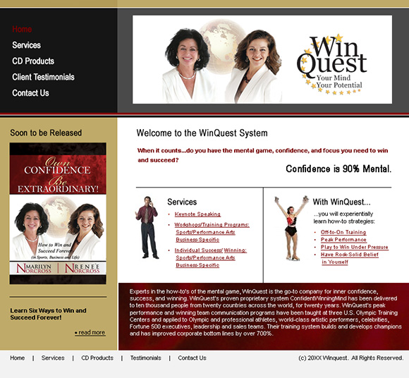 WinQuest home page design