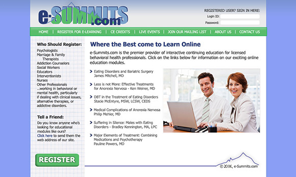 e-Summits.com home page design