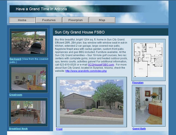 Sun City Grand House FSBO home page